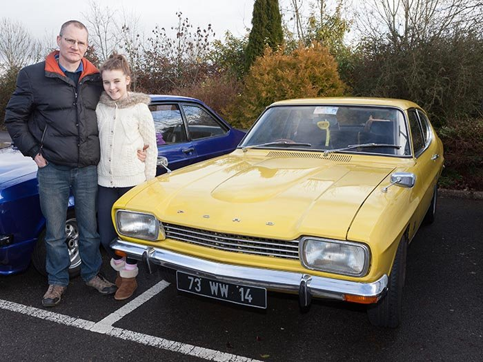 Gerard and Andrea Burke from sligo stood in for a quick Photograph with their MK 1 Ford Capri in their ownership for the past 22 years.