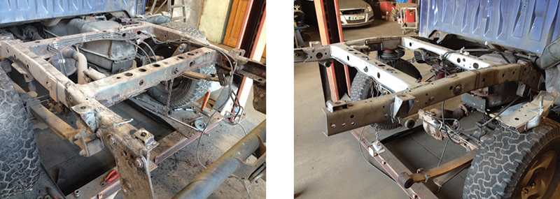These 'before and after' images show the effect of SP Heat Transfer's zinc spray galvanizing on a jeep chassis. After welding and rust repairs the chassis has been sprayed with a molten zinc spray, which when done correctly should keep rust at bay indefinitely. SP Heat Transfer are specialists in this cutting-edge process, and the results are extremely impressive.